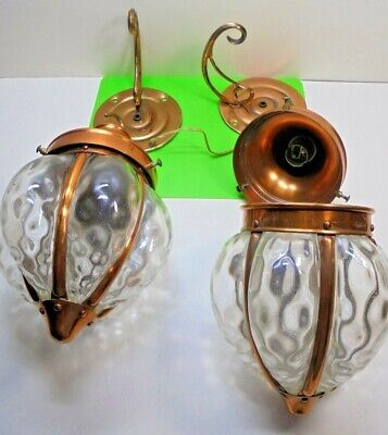 2 OLD VINTAGE arts crafts / art nouveau style ELECTRIC COPPER GLASS WALL LAMPS