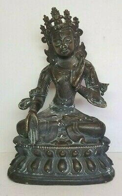 Antique Vintage Chinese Tibetan Bronze Seated Buddha Figure Statue 6-1/8""