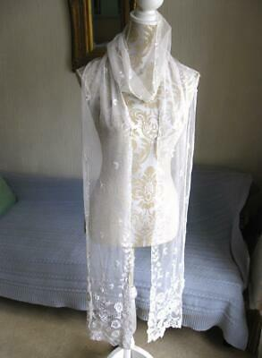 Lovely Antique Long Lace Stole-114 inches by 8 inches