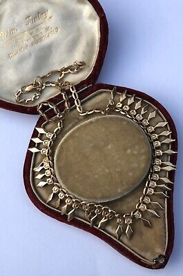 Egyptian Revival 9ct Gold Hallmarked Cleopatra Collar Necklace In An Antique Box