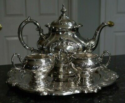 Gorham Silverplate Tea Service Teapot Creamer Sugar and Tray EP YC1332