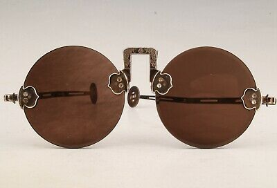 Antique China Copper Glass Reading Glasses Decorate Gift Collection Old