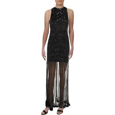 Adrianna Papell Womens Black Beaded Formal Evening Dress Gown 10 BHFO 3872