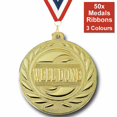 50x PACK OF METAL WELL DONE SCHOOL 50mm EMBOSSED MEDALS & RIBBONS, 3 COLOURS