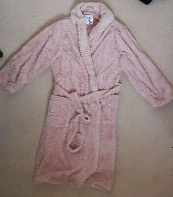 LADIES SUPER SOFT FLUFFY PINK DRESSING GOWN ROBE size 16-18