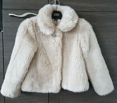 Marks & Spencer Girls Faux Fur Winter Cream Jacket Coat Autograph Age 7 8 years
