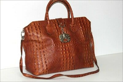 Genuine Leather Tote Bag Crocodile Brown Tan Large Capacity Top Condition