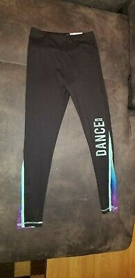 Girls JUSTICE Size 14/16 Leggings Active High Waisted Dance Black Teal NWT