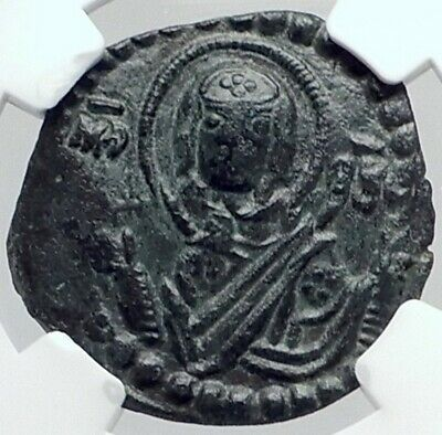 JESUS CHRIST Class G Anonymous VIRGIN ORANS Byzantine Follis Coin NGC i81824