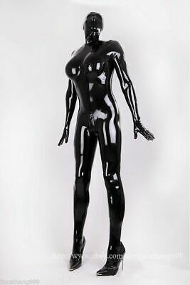 Latex Rubber Catsuit Schwarz Polished Gummi Bodysuit Mask Handmade Auzug S-XXL