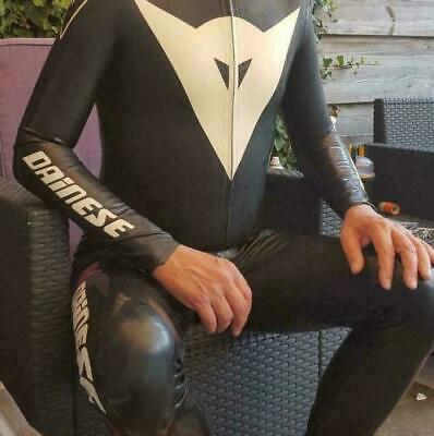 Handsome Latex Rubber Racing Suits Bodysuit Schwarz 100% Gummi Catsuit Uniform