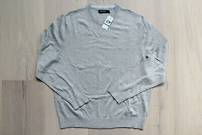 Nautica Men Long Sleeve Crewneck Pullover Grey Size Large NEW with tags