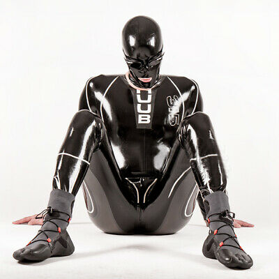 Cosplay Latex Rubber Catsuit Schwarz Fashion Bodysuit With Mask Handsome Auzug
