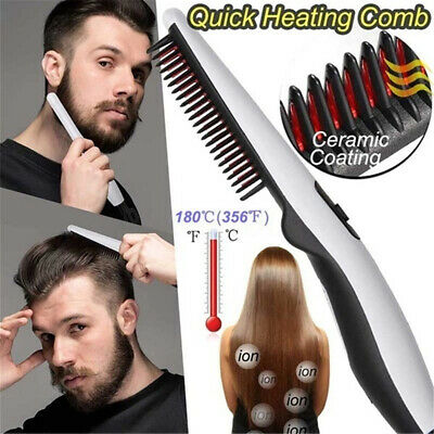 Electric Quick Beard Hair Straightener Brush Styling Comb Curling Styler AU