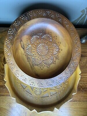Handmade Handtooled  Crafted  Wooden Plater / plate / dish  x 2