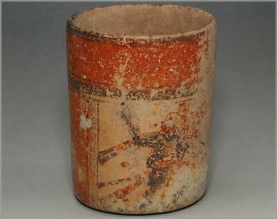 MV06 Antique Maya polychrome cylindrical vessel AD600-900 # Pre Columbian