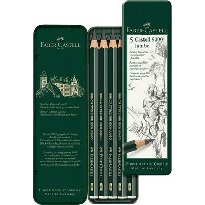 #119305 Faber Castell Tin of 5 Castell 9000 Jumbo Graphite Pencils Artists Set