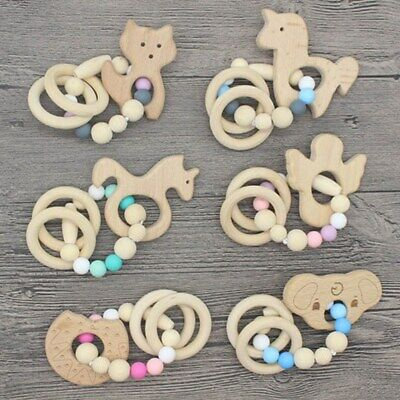 Animal Wooden Teether Baby Chewable Teething Bracelet Silicone Rattle tfdz