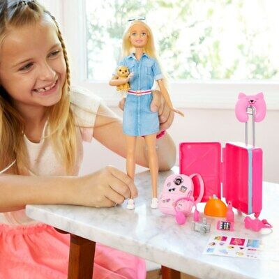 Barbie Travel Doll & Accessories Playset Girls Kids Collection Set Toy Gift