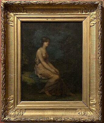 Fine 19Th Century French Romantic Oil - Scantilly Clad Maiden Woodland - Signed