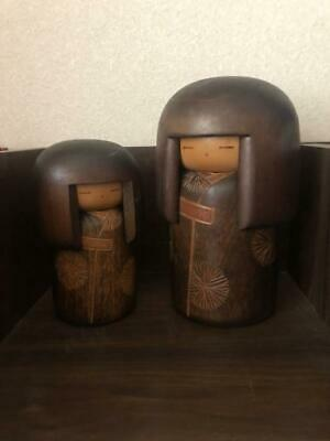 Kokeshi Doll Original traditional Two pretty quite old decoration crafts wood