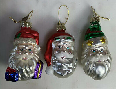 3 Vintage Thomas Pacconi Blown Glass Figural Santa Head Christmas Ornaments