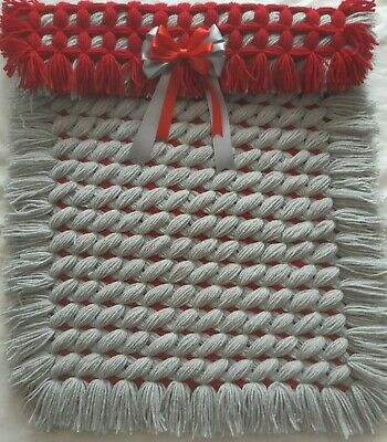Handmade Red And Grey Criss Cross Baby Girl Boy Pram Blanket With Matching Bow