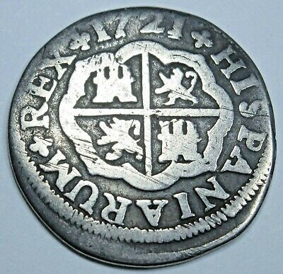 1721 Spanish Silver 1 Reales Piece of 8 Real Colonial Era Pirate Treasure Coin