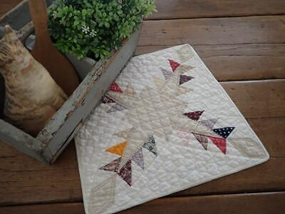 Gorgeous Fabrics EARLY Farmhouse c1860 Antique Table or DOLL QUILT 12x13