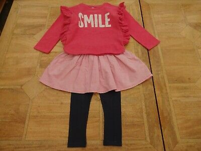 Girls Next Smile Pink & Navy 3 Piece Outfit Dress Leggings Jumper - Age 5