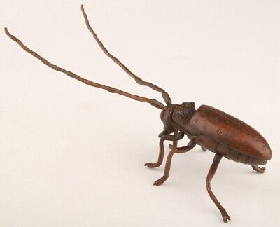 Unique China Red Copper Hand-Cast Beetle Statue Auspiciou Gift Collection Old