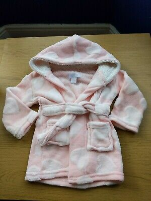Pretty Baby Girls 6-9 Months Dressing Gown Pink Soft Hearts