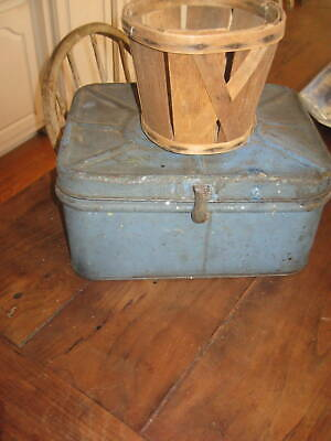 Great Old Bread Box  Amazing Old Blue Paint And Super Lettering Aafa Nr