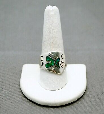 Sterling Silver Southwestern  Design Ring With Turquoise Stone  10.0 #Fmh512