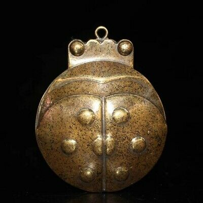 China Collectable Handwork Decor old Copper Carve Insect Ancient Lucky Ink-Stone