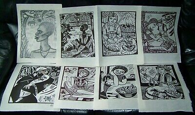 "Irena Sibley ""Rainbow"" 7 x Large Linocuts -1 Signed - plus 1 Original drawing"