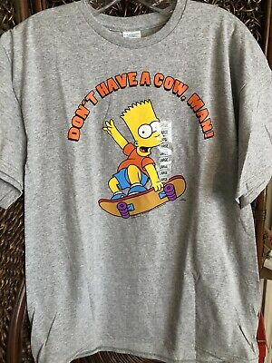 "Bart Simpson Gray Shirt ""Don't Have A Cow Man"" The Simpsons Men's Large NWT"