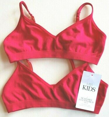 New & Tagged M&S Kids 2 Part Set Seam Free Cotton Rich BRAS Age 9 to 11 Years