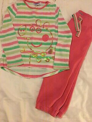 Girls Peppa Pig Long Sleeved Sequinned Top & Jogging Bottoms Age 2 3 VGC