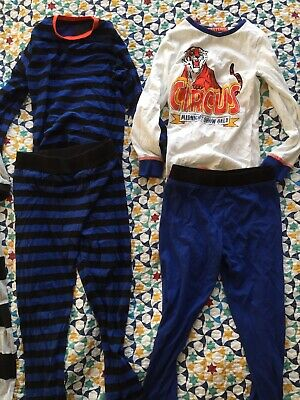 M&S 7-8 Years Boys Girls Pjs Pyjamas Tiger Stripe Bundle - Great condition