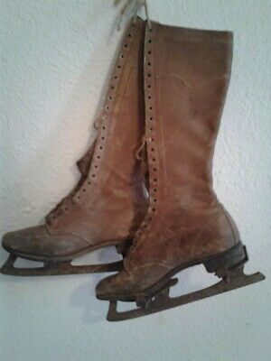 Vintage 1930's Ladies Lace-Up Ice Skate Military Equestrian Boots