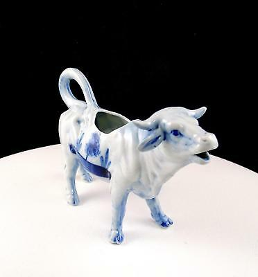 "Delft Blue And White Windmill And Ships 5"" Figural Cow Creamer"