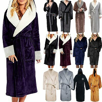 Womens Plush Soft Shawl Bathrobe Fleece Wrap Bath Robe Dressing Sleepwear Pjs'