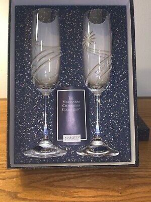 Waterford Marquis Crystal The Millennium Celeb Collection 2  Toasting Flutes