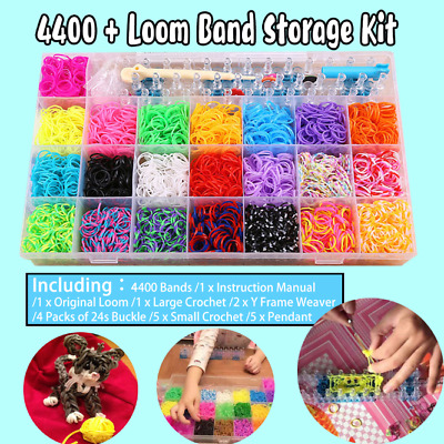 4400Pcs Loom Bands Storage Case Kit w/ Hooks S Clips Beads Charms OZ NEW