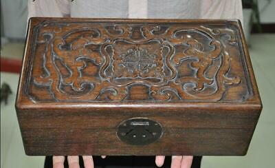 Old Chinese dynasty huanghuali wood carving auspicious Storage Treasure box case