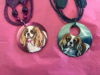 Two Cavalier King Charles Hand Painted Necklaces