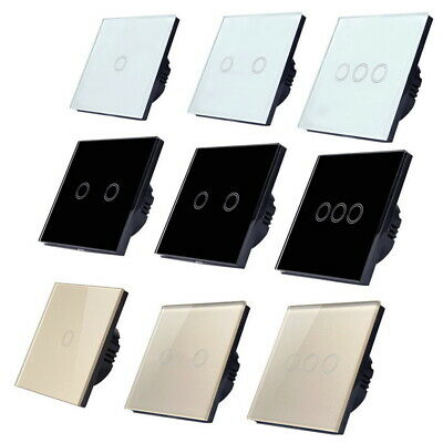 Universal 1/2/3Gang Smart LED Light Touch Switch Crystal Glass Panel Wall Screen