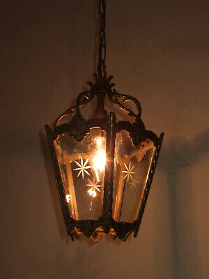 Antique  French Louis Xv Gilt Bronze & Ground Glass  Lantern Chandelier  Light