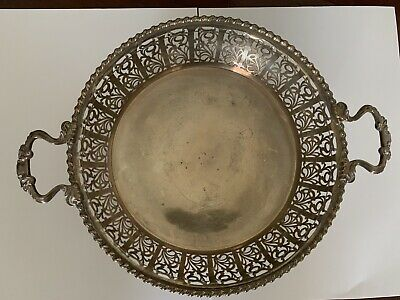 Fine Quality Sterling Silver Pierced Circular Two Handled Fruit Bowl - BIRM 1927